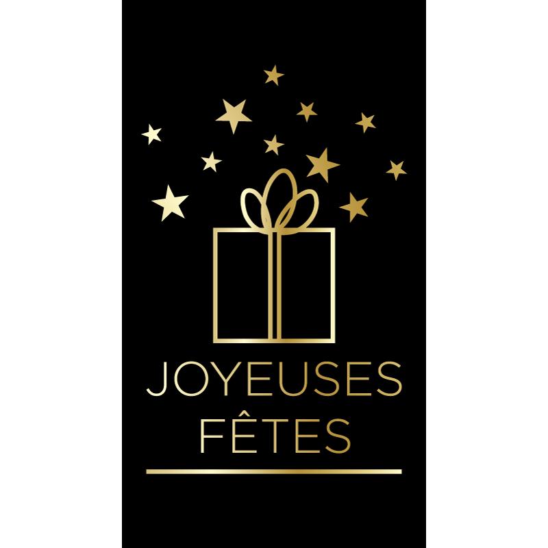 """500 Étiquettes """"Joyeuses Fêtes"""" or et noir"""