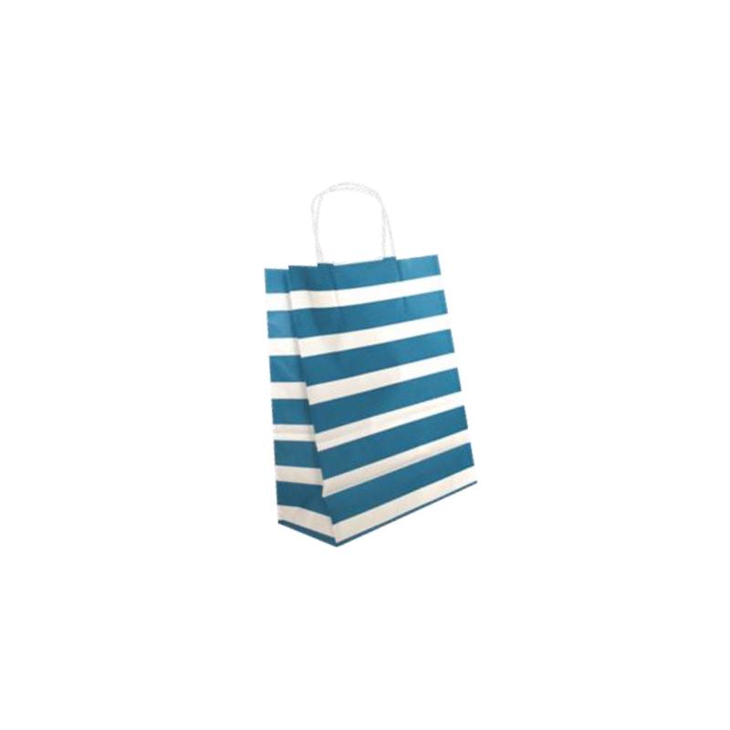 Sac papier kraft turquoise 24x12x31 cm