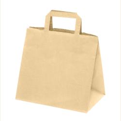 300 Sacs Traiteur papier Kraft brun poignées plates L.26xP.16xH.29 cm