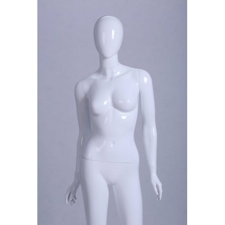 Mannequin vitrine Femme laqué blanc brillant tête oeuf