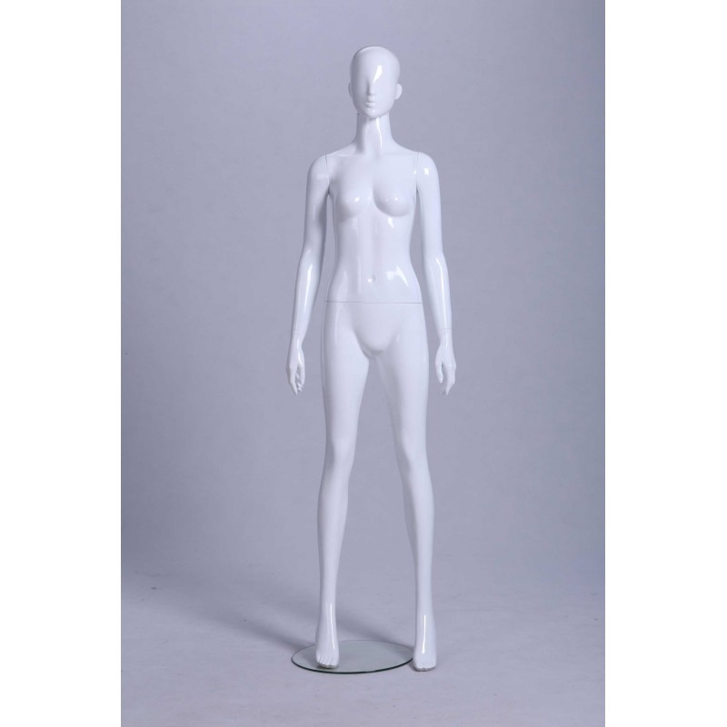 Mannequin Femme laqué blanc brillant tête oeuf droit