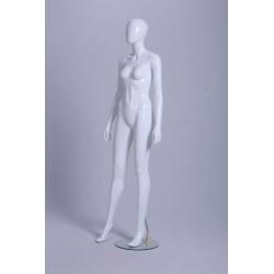 Mannequin vitrine Femme laqué blanc brillant tête oeuf déhanché