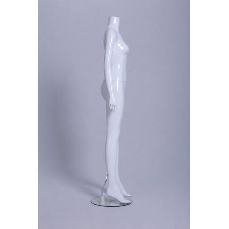 Mannequin vitrine Femme laqué blanc brillant sans tête droit