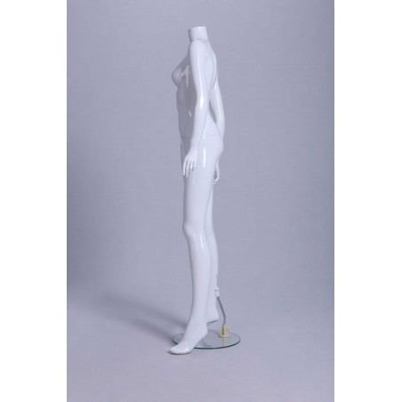 Mannequin vitrine Femme laqué blanc brillant sans tête déhanché