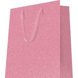 20 Sacs cabas luxe poignées ruban polyglitter uni rose 200g