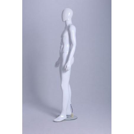 Mannequin vitrine Homme laqué blanc brillant tête oeuf déhanché
