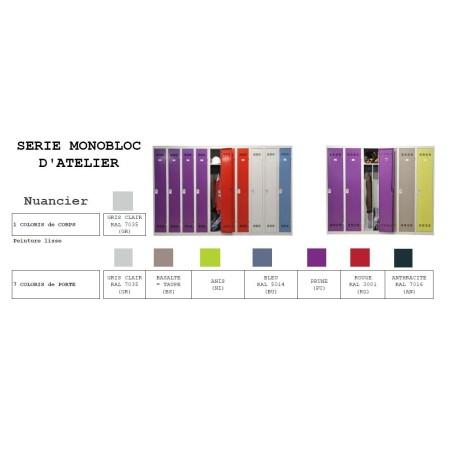 Casier Vestiaire 2 colonnes 60cm monobloc soudé industrie propre