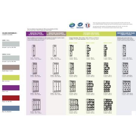 Vestiaire 2 colonnes multicases 60cm monobloc soudé