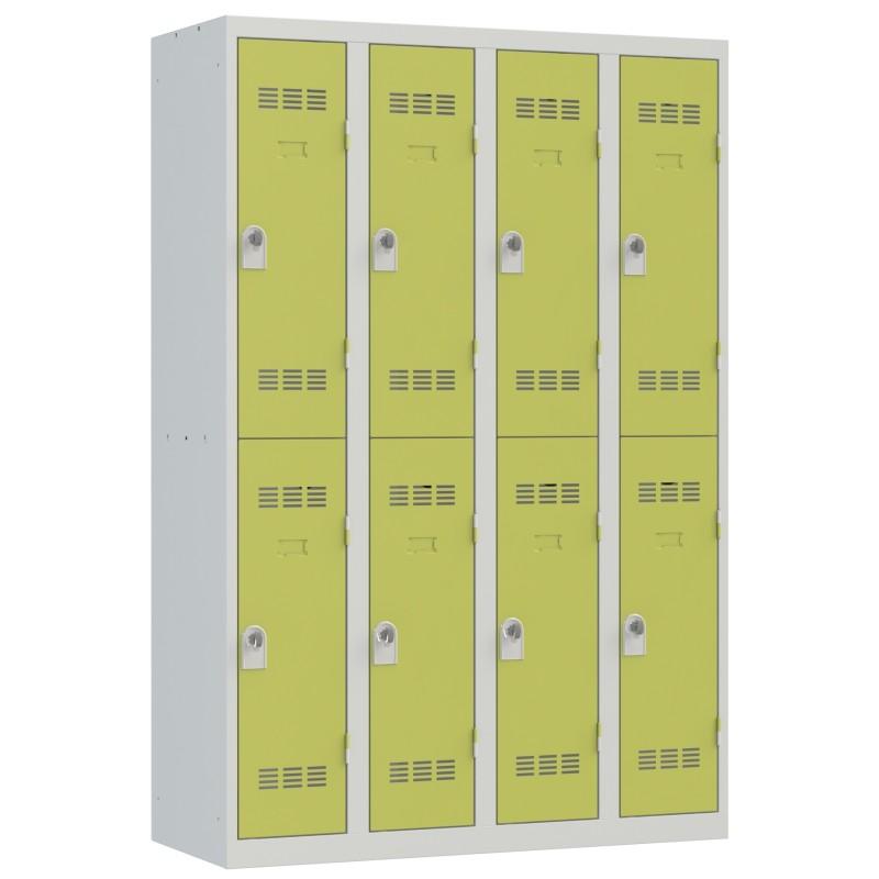 Vestiaire 4 colonnes multicases 120cm monobloc soudé