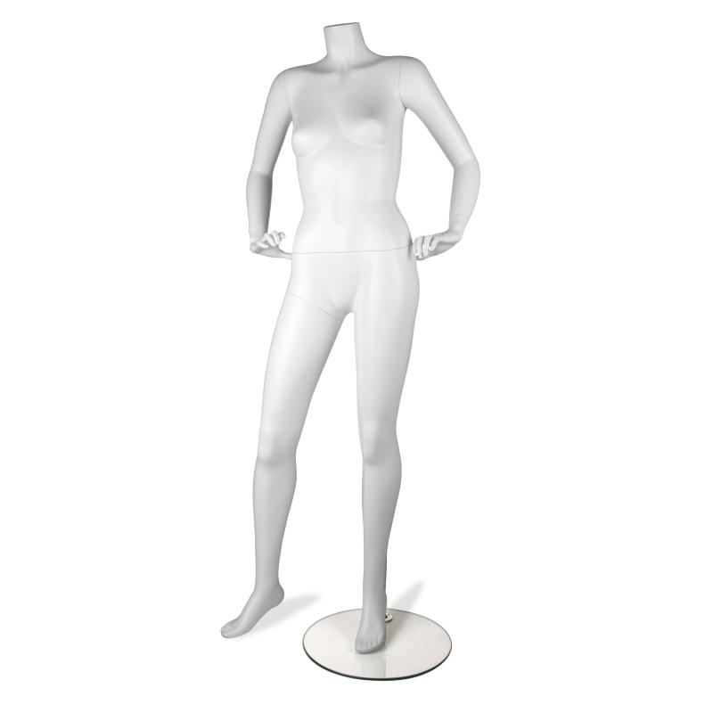 Mannequin vitrine femme déhanché blanc tête au choix