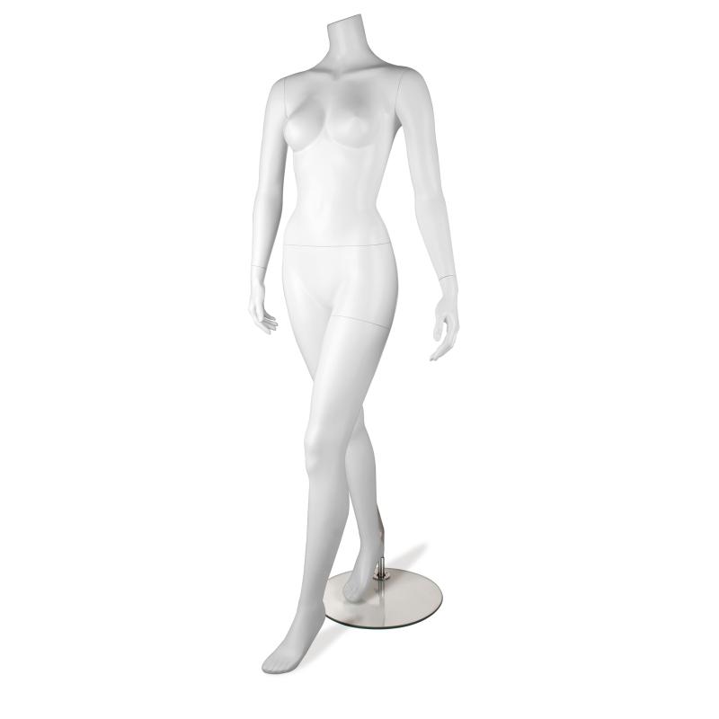 Mannequin vitrine femme blanc jambe avant tête au choix