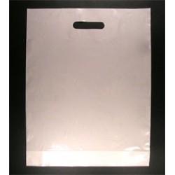 Sacs plastiques poignées découpées blanc 51µ 45x50+5 cm
