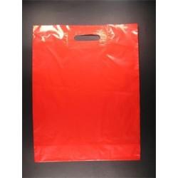 Sac plastique poignées découpées rouge 51µ 35x45+5 cm