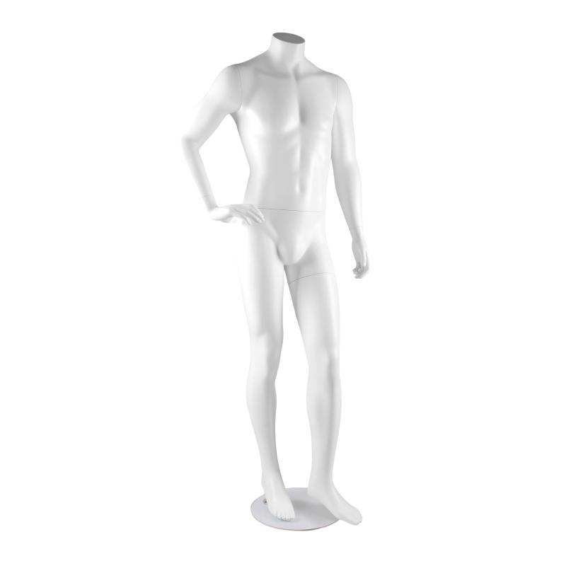 Mannequin vitrine blanc homme sans tête bras de côté