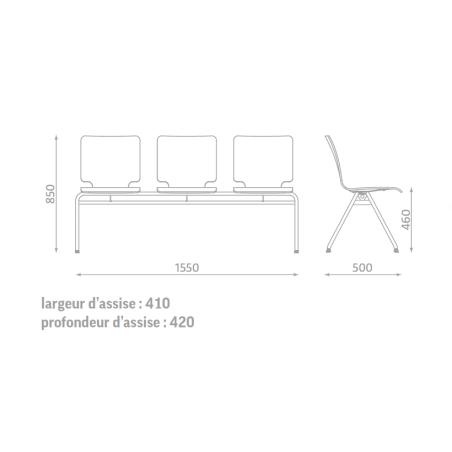 Chaise Axo par 3 hêtre multiplis
