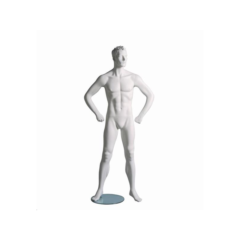 Mannequin sportif homme fitness B blanc