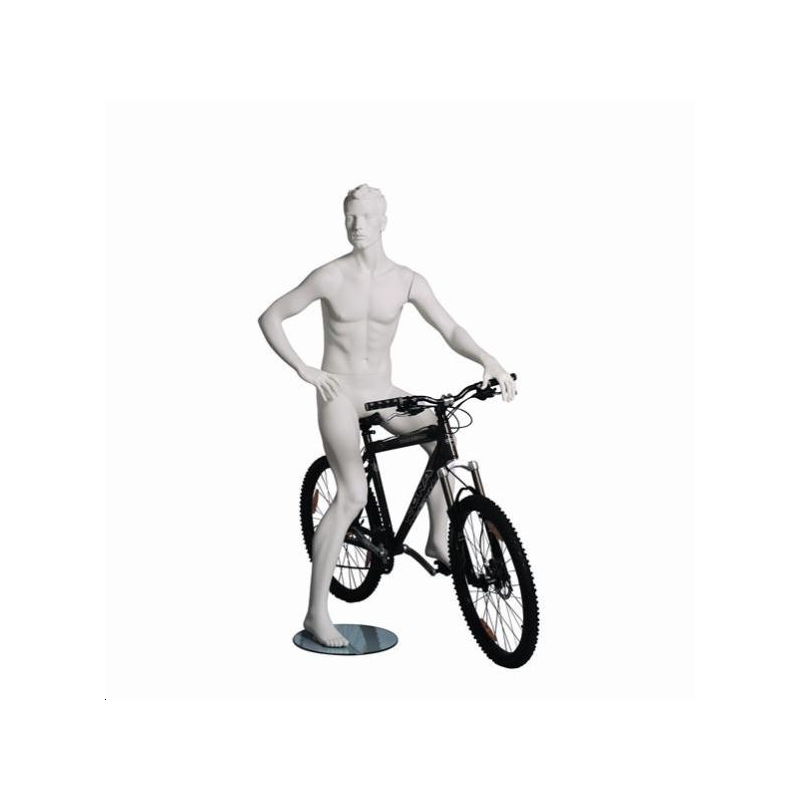Mannequin sportif homme cycliste blanc
