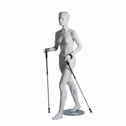 Mannequin sportif femme randonneur blanc