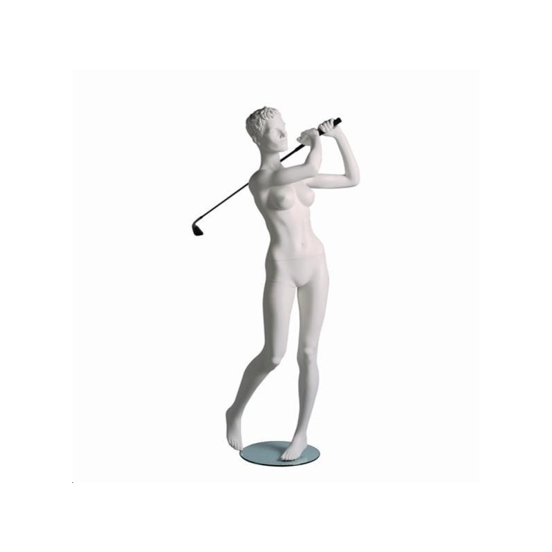 Mannequin sportif femme golfeur blanc