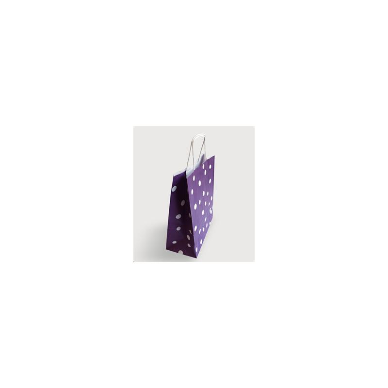 Sac papier kraft pois Aubergine 24x12x31 cm x50