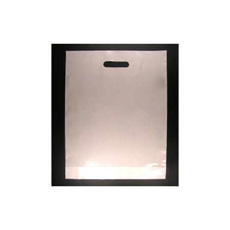Sacs plastiques poignées découpées blanc 51µ 35x45+5 cm