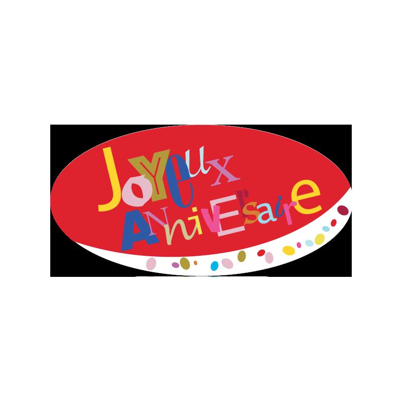 """500 Étiquettes """"Joyeux Anniversaire"""" ovale rouge"""