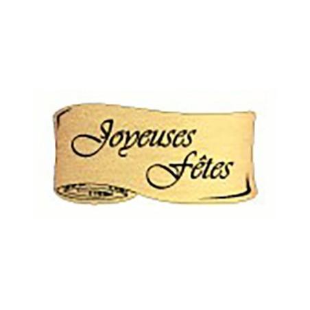 """500 Étiquettes """"Joyeuses Fêtes"""" Parchemin or"""