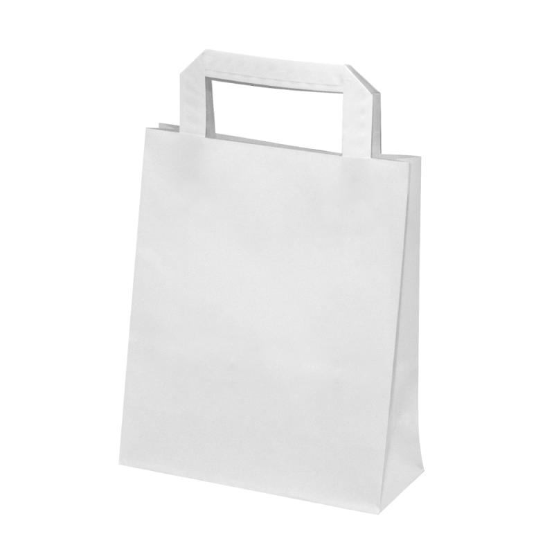 500 Sacs papier Kraft blanc poignées plates L.18xP.8xH.22 cm