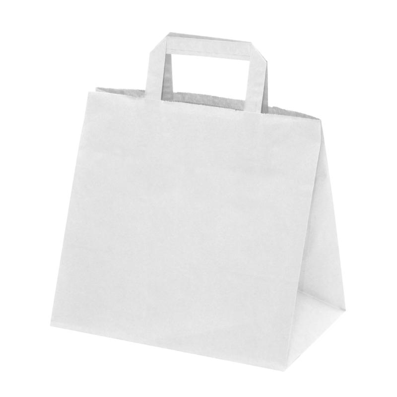 250 Sacs Traiteur papier Kraft blanc poignées plates L.26xP.17xH.25 cm