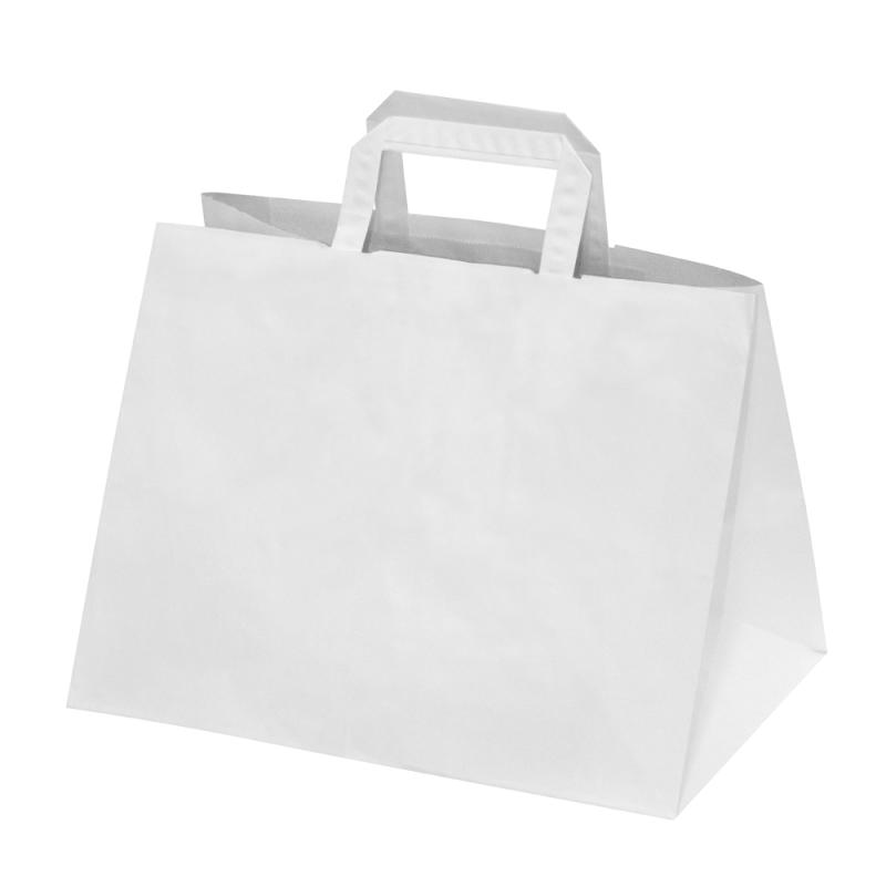 250 Sacs Traiteur papier Kraft blanc poignées plates L.32xP.22xH.24 cm