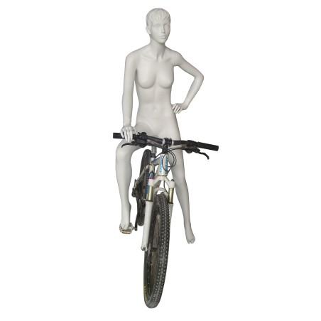 Mannequin sportif femme Cycliste blanc avec tête