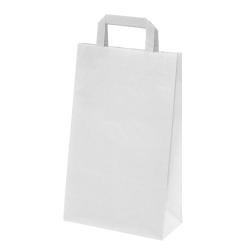 250 Sacs papier Kraft blanc poignées plates L.22xP.10,5xH.28 cm