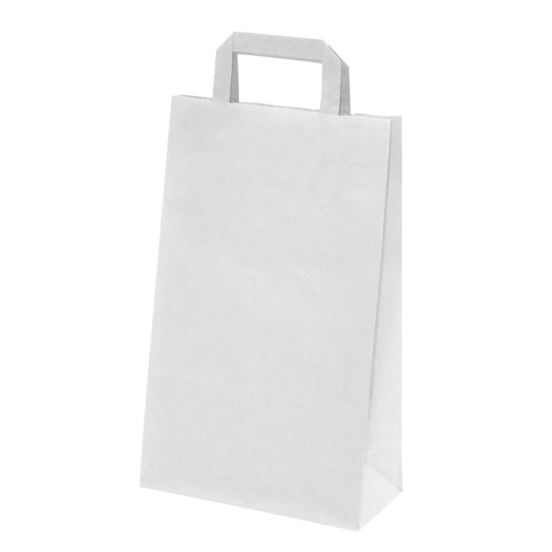 250 Sacs papier Kraft blanc poignées plates L.26xP.10xH.33 cm